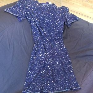 Dark Blue Silk & Sequins Dress size XS